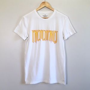 American Eagle French Fries Graphic White Crew Tee